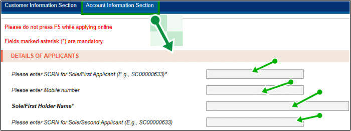 account information section